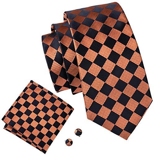 Barry.Wang Men Tie Set Woven Silk Handkerchief Cufflinks Plaid Check