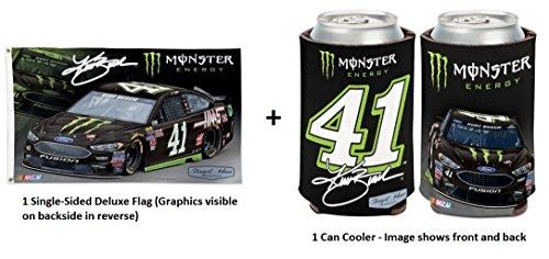 NASCAR 3x5 Flag and Can Cooler Bundle (Kurt Busch - Monster Energy)