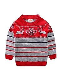 Mud Kingdom Boy Christmas Reindeer Holiday Sweaters Stripe Stripe