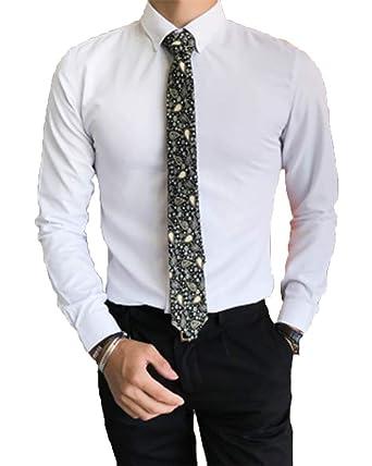 Camisa De Manga Larga Color Sólido Modelo La Solapa para Hombre Caballero Sin Corbata Blanco S: Amazon.es: Ropa y accesorios