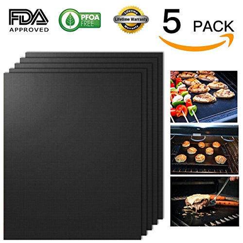 "Grill Mat, Non-Stick BBQ Grill Mats, Set of 5 Barbecue Mat Durable, Heavy Duty, Reusable and Easy to Clean, FDA-Approved, PFOA Free, Size 13"" x 16"", Black Color, By EDBETOS"