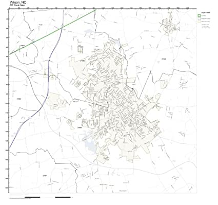 Amazon.com: ZIP Code Wall Map of Wilson, NC ZIP Code Map Laminated