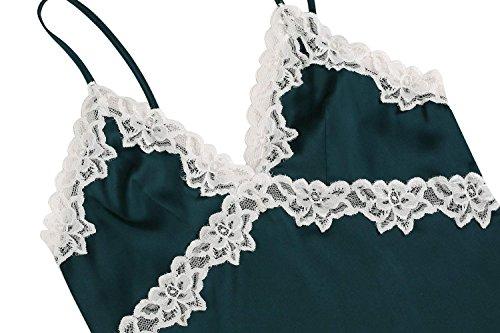 Ekouaer Camisón picardías de saten y de encaje con correas ajustables para mujeres gris