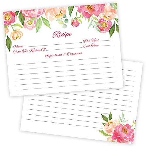 50 Pink Peonies Flower Recipe Cards- Thick Double Sided 4 x 6 Inch, Wedding Kitchen Bridal Shower Card, Blank Printable for Binder or Box Made in the USA (Pink -