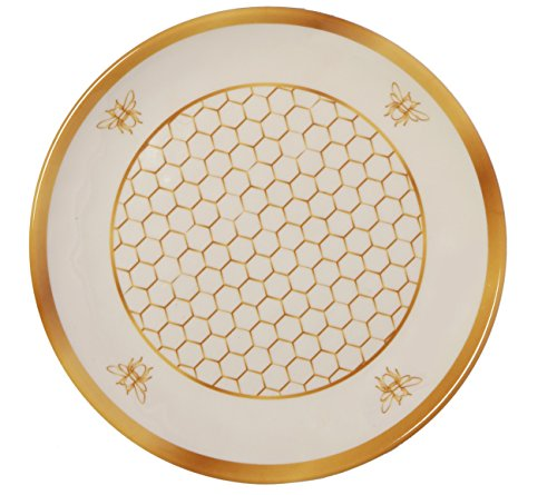 Comb Compass Set - Melange 6-Piece 100% Melamine Salad Plate Set (Gold Honeycomb Collection ) | Shatter-Proof and Chip-Resistant Melamine Salad Plates