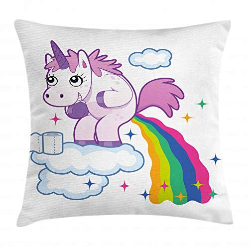 """Ambesonne Funny Throw Pillow Cushion Cover, Unicorn Pooping Rainbow Over Clouds Creative Kids Girls Fairy Tale Fantasy Cartoon, Decorative Square Accent Pillow Case, 20"""" X 20"""", Pale Purple"""