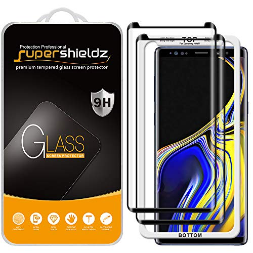 (2 Pack) Supershieldz for Samsung Galaxy Note 9 Tempered Glass Screen Protector with (Easy Installation Tray) Anti Scratch, Bubble Free (Black)