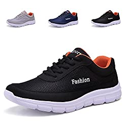 CIOR Lightweight Running Shoes Lace-Up Casual Breathable Athletic Sports Fashion Sneakers,SCQX02,Black,39