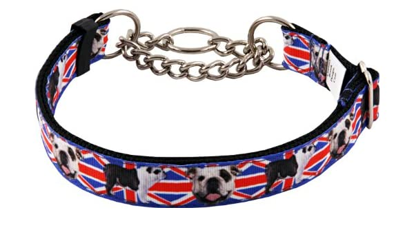 Amazon.com : Country Brook Design English Bulldog Union Jack Half Check Grosgrain Ribbon Dog Collar - Large : Pet Collars : Pet Supplies