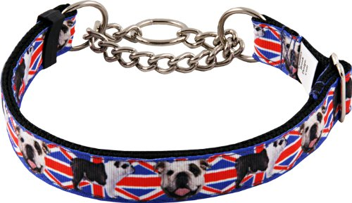 Country Brook Design English Bulldog Union Jack Half Check Grosgrain Ribbon Dog Collar - Extra Large