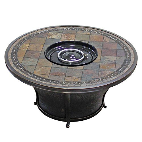 TK Classics FP-TEMPE-KIT Tempe Round Slate Top Gas Fire Pit Table, 48