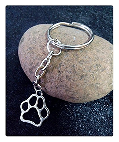 Dog Cat Paw Print Charm DIY Keychain,Silver Tone Key Chain Keyring Fashion Pendant Jewelry