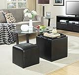 Convenience Concepts Designs4Comfort Park Avenue Single Ottoman with Stool, Black