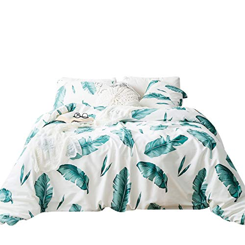 - SUSYBAO 3 Piece Duvet Cover Set 100% Natural Cotton White King Size Botanical Bedding Set with Zipper Ties 1 Green Banana Leaves Print Duvet Cover 2 Pillowcases Hotel Quality Soft Breathable Durable