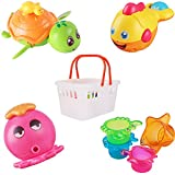 iPlay, iLearn Baby Bath Toys w/ Organizer, Water Squirting Octopus, Wind Up Swimming Turtle, Bathtub & Shower, Stacking Cups, Gift for 6, 9, 12, 18 Months 1, 2, 3 Years, Toddlers, Girls, Boys & Kids