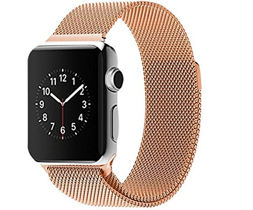 Bronze Stainless Steel watch band, Strong magnet lock for Apple iWatch Band Milanese weave flex metal loop 38mm