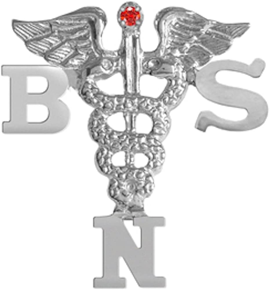 Sterling Silver BSN Lapel Pin with Ruby NursingPin