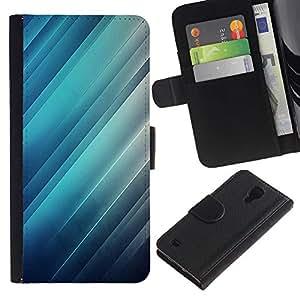 EuroTech - Samsung Galaxy S4 IV I9500 - Glass Reflection Light Blue Stripes Lines - Cuero PU Delgado caso Billetera cubierta Shell Armor Funda Case Cover Wallet Credit Card