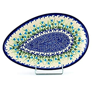 Polish Pottery, Handpainted and Handcrafted Egg Plate _ Blue Tulips Unique Pattern (U456)