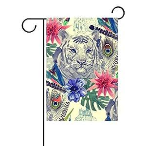 """alirea Vintage estilo indio cabeza de tigre patrón bandera de poliéster bandera de Jardín al aire libre hogar partido jardín decoración, doble cara, 12""""X 18"""""""