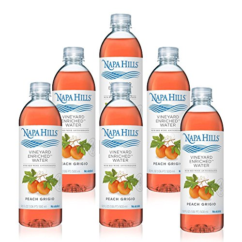 Napa Hills Flavored Water | Peach Grigio | 6 Pack | Vineyard Enriched Beverage | With Red Wine Antioxidants | Natural Polyphenol Infused Drink | No Alcohol, No Sugar, No Calories,