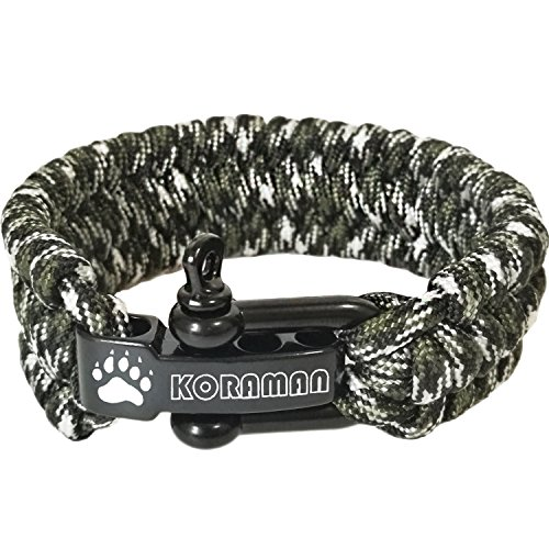 Linshanbang Paracord Survival Bracelet with Adjustable Black Stainless Steel D Shackle - Grade Type III Military Bracelet - Suitable for 8 to 9 Inch Wrists - Forest Camo