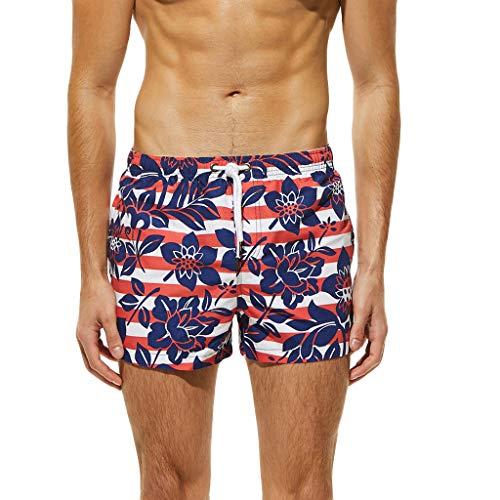 Quick Dry Swim Trunks for Men, Summer Beachwear Lightweight Bathing Suit for Surfing Swimming(Red,L)