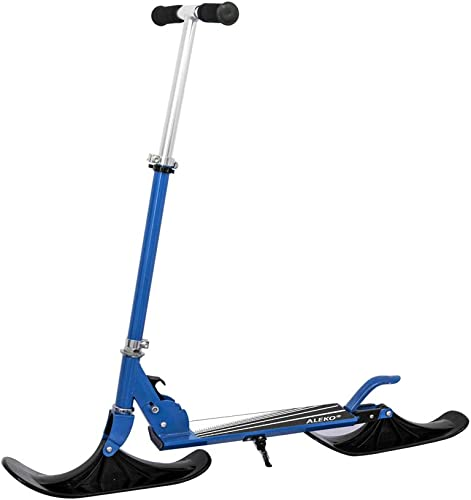 ALEKO SSC03BL Deluxe Street Ski 2-in-1 Youth Kick Stunt Scooter with Snow Ski Attachment Blue