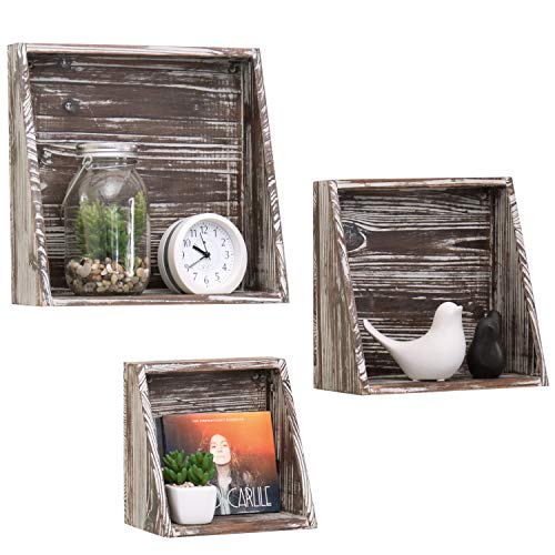 (MyGift Wall-Mounted Rustic Torched Wood Shadow Box Shelves, Set of 3)