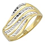 10k Two-Tone Gold Diamond-Cut Wave Ring (size 6, 7, 8. 9 or 10)