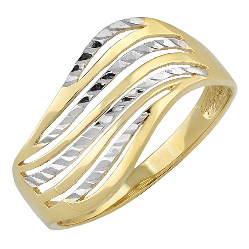 Kooljewelry 10k Two-Tone Gold Diamond-Cut Wave Design Ring (size 9) (Wave White Design Gold)