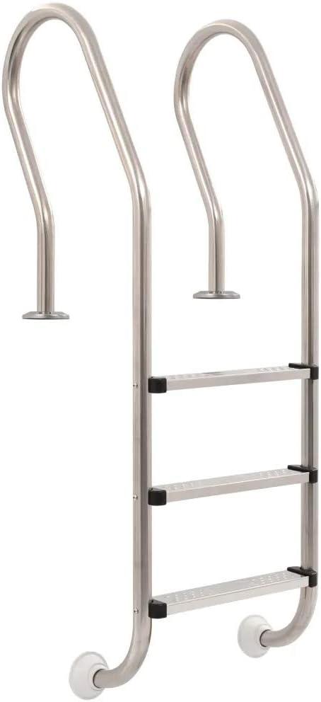 Cikonielf - Escalera de seguridad para piscina de acero inoxidable con 3 peldaños con superficie antideslizante 49 x 53,3 x 158 cm