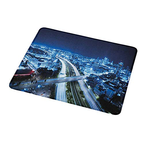 Mouse Pad Unique Custom Travel,Aerial View Tel Aviv Night Ayalon Highway City Life Modern Panorama Photo,Dark Blue Pale Blue,Mousepad Great for Laptop,Computer 9.8