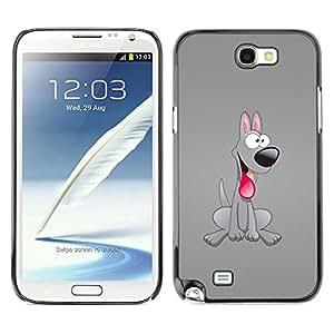 Caucho caso de Shell duro de la cubierta de accesorios de protección BY RAYDREAMMM - Samsung Galaxy Note 2 N7100 - Dog Grey Friendly Tongue Pink Art Cartoon 3D