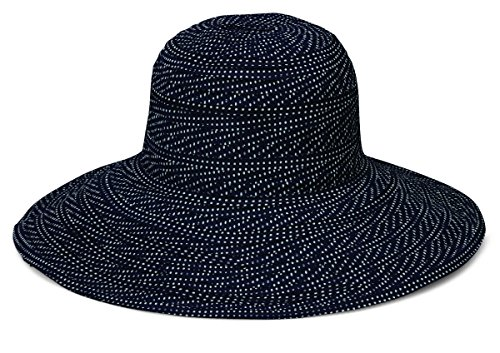 Wallaroo Hat Company Women's Scrunchie Sun Hat - Lightweight and Packable Sun Hat - UPF 50+, Black With White Dots