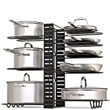 kitchen cabinet organizer  Pot Rack Organizer, 3 DIY Methods, Height and Position are Adjustable 8+ Pots Holder, Black Metal Kitchen Cabinet Pantry Pot Lid Holder (Upgraded)