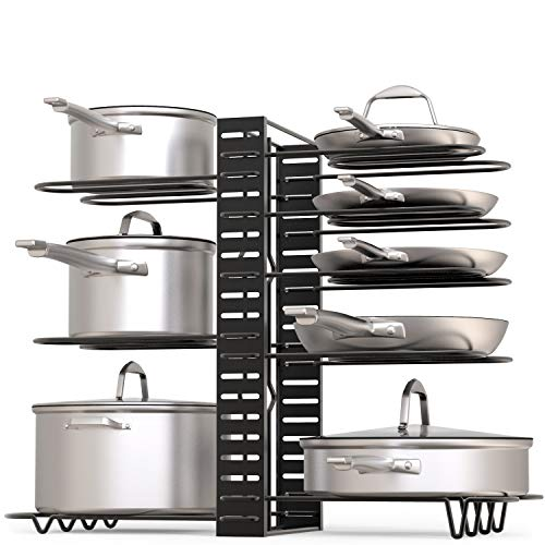 Pot Rack Organizer, 3 DIY Methods, Height and Position are Adjustable 8+ Pots Holder, Black Metal Kitchen Cabinet Pantry Pot Lid Holder (Upgraded)