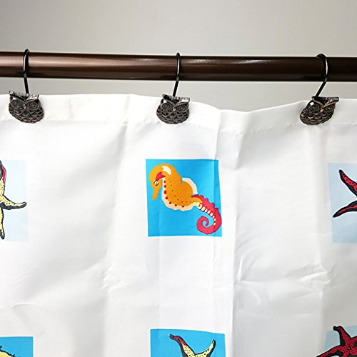 MonkeyJack 12x Owl Design Shower Curtain Roller Rings Bathroom Hooks Curtain Tieback