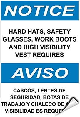 Hats Safety Glasses Work Boots High Visibility Vest Required Label Decal Sticker Vinyl Label 10 X 14 Inches