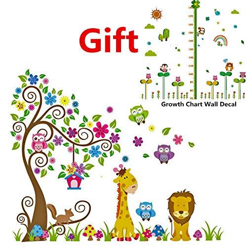 Jungle Animals Theme Wall Decor with Growth Chart as Gift Nursury Kids Room Decal Lion Giraffe Wall Decals Vinyl Art Wall Decor(Jungle Tree Animal)