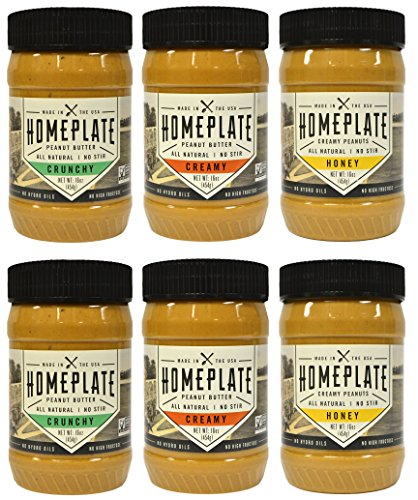 HomePlate Peanut Butter, Variety Pack, Crunchy, Creamy, & Honey Flavored, All Natural, No Stir, Non-GMO, 16 oz. Jar, Pack of 6