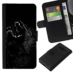 All Phone Most Case / Oferta Especial Cáscara Funda de cuero Monedero Cubierta de proteccion Caso / Wallet Case for Samsung Galaxy Core Prime // Werewolf Black Night Howl Dog