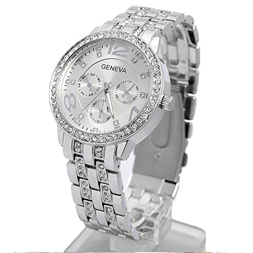 Happy Hours - Bling Unisex Bling Crystal Quartz Leisure Wrist Watch  Luxury Geneva Alloy Band Classic Round Leisure Watches with a Button Battery(Sliver)