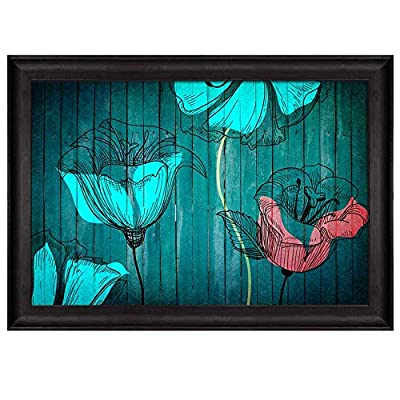 With a Professional Touch, Gorgeous Object of Art, Illustration of Pink and Blue Flowers Over Teal Wooden Panels Nature Framed Art