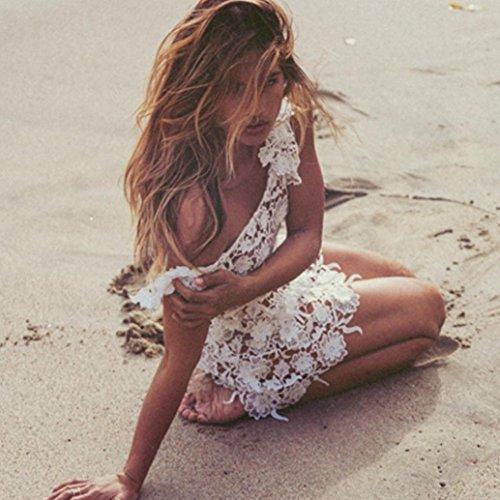 Amlaiworld Los encajes de ganchillo hueco del bikini cubierta de Vestir