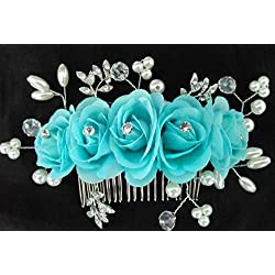 Bridal Hair Comb with Flower Barrette Headpiece Wedding Accessory (Turquoise)