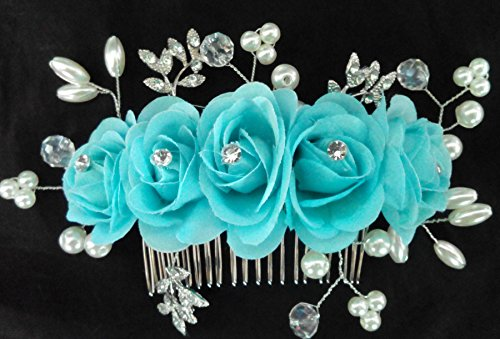 (Bridal Hair Comb with Flower Barrette Headpiece Wedding Accessory)