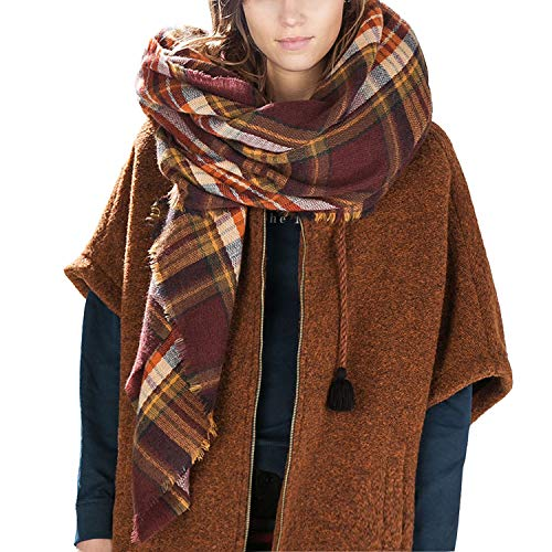 Bess Bridal Women's Plaid Blanket Winter Scarf Warm Cozy Tartan Wrap Oversized Shawl Cape (One Size, Coffee) ()