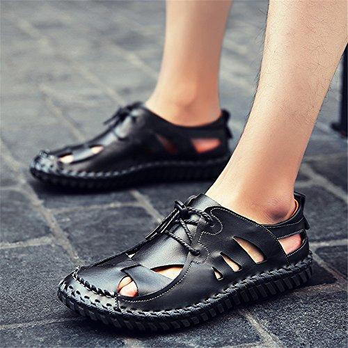 Color regolabili traspiranti da 42 pelle EU antiscivolo in uomo da 3 Size spiaggia sandali Black 2 Sandali sandali Black zBqPwFq