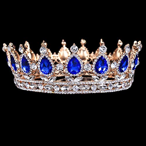 Vintage Baroque Queen King Bride Tiara Crown For Women Headdress Prom Bridal Wedding Tiaras And Crowns Hair Jewelry Accessories Gold Dark Blue